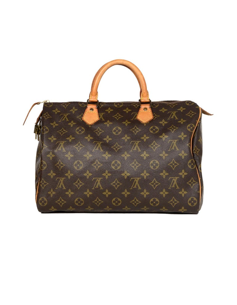 Black Louis Vuitton Vtg  90s LV Monogram Canvas Speedy 35 Top Handle Bag W  64623ec98c