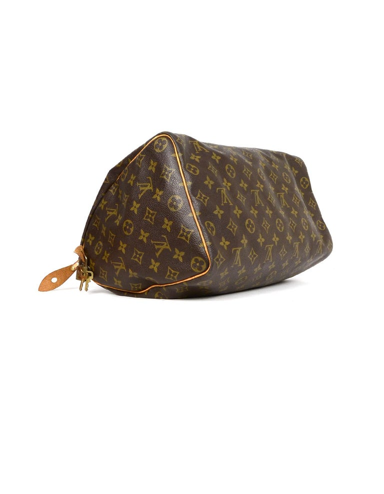 Louis Vuitton Vtg  90s LV Monogram Canvas Speedy 35 Top Handle Bag W  Lock 8e84d1d919