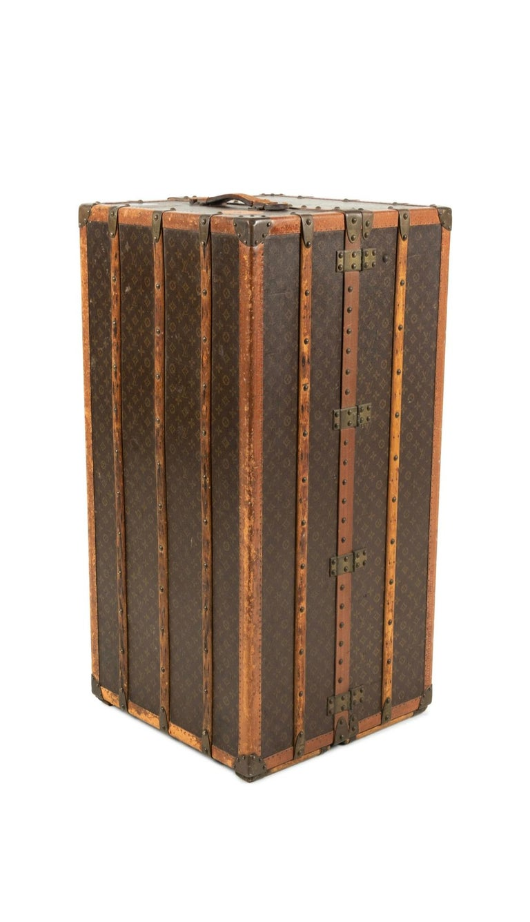 French Louis Vuitton Wardrobe Steamer Trunk For Sale