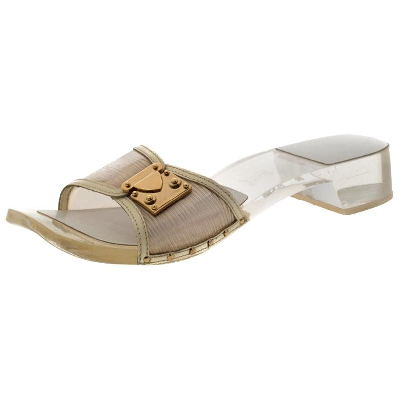 Louis Vuitton White Acrylic and Leather Trim Buckle Sandals Size 38.5