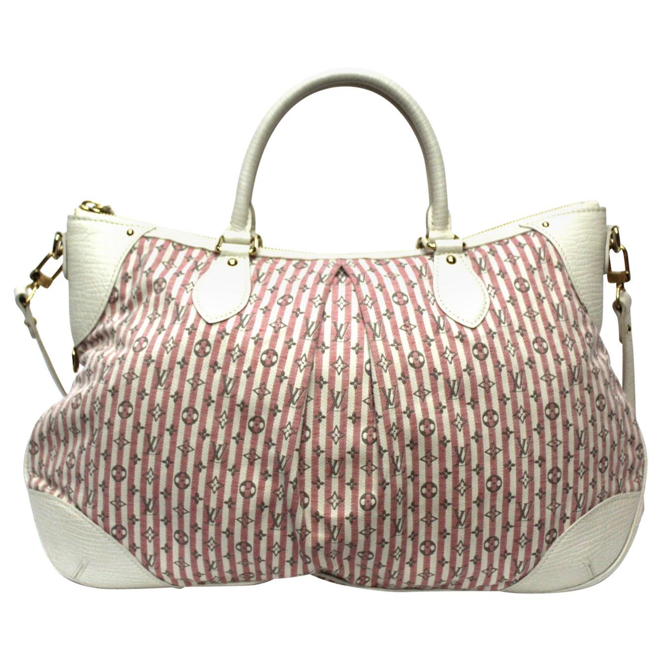 Louis Vuitton White and Pink Canvas Croisette Marina Mini Lin Bag