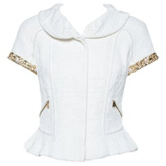 Louis Vuitton White Blend Jewel and Pearl Embellished Short Sleeve Jacket M