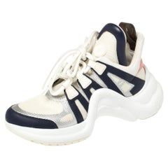 Louis Vuitton White/Blue Leather And Mesh Archlight Lace Up Sneakers Size 37