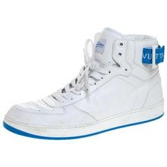 Louis Vuitton White/Blue Leather Rivoli High Top Sneakers Size 42