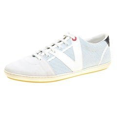 Louis Vuitton White/Blue Suede and Canvas Low Top Sneakers Size 41.5
