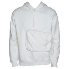 Louis Vuitton White Cotton 3D Patched Pocket Half Zipped Hoodie S