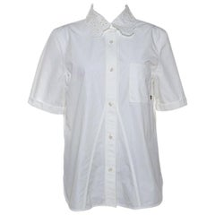 Louis Vuitton White Cotton Embroidered Collar Short Sleeve Shirt L