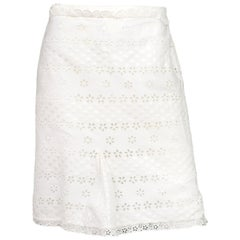 Louis Vuitton White Cotton Eyelet Skirt w/ Ruffle Bottom sz 42