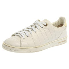 Louis Vuitton White Croc Embossed Leather Low Top Sneakers Size 37.5