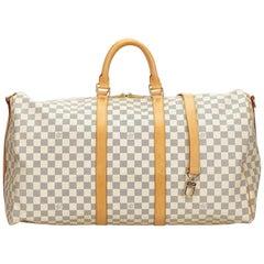 Louis Vuitton White Damier Azur Keepall Bandouliere 55