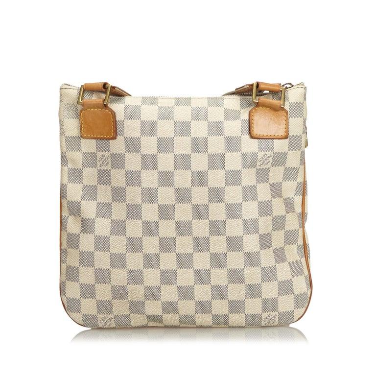 Louis Vuitton White Damier Azur Pochette Bosphore In Good Condition For Sale In Orlando, FL