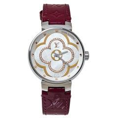 Louis Vuitton White Diamonds Stainless Steel Tambour Women's Wristwatch 35MM