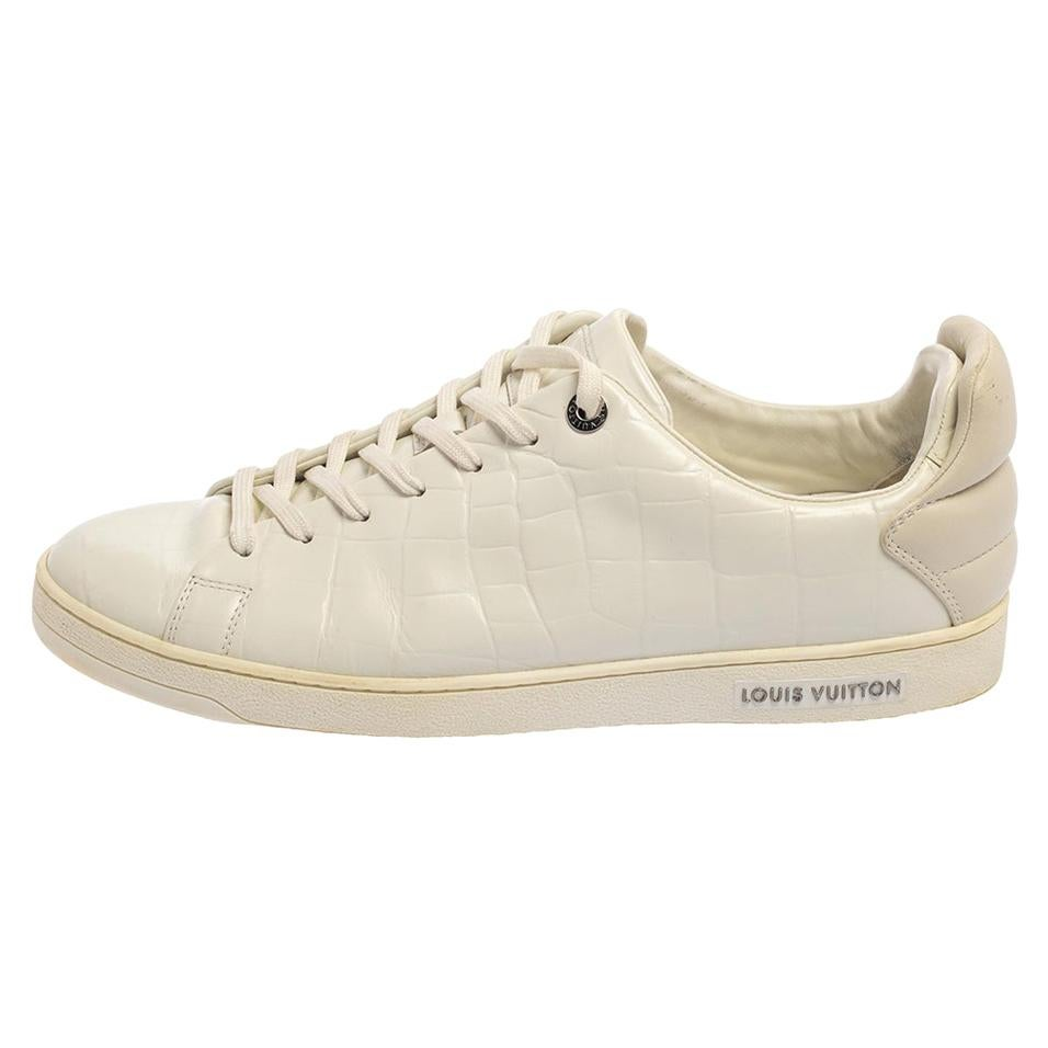 Louis Vuitton White Embossed Leather Frontrow Low-Top Sneaker Size 42.5