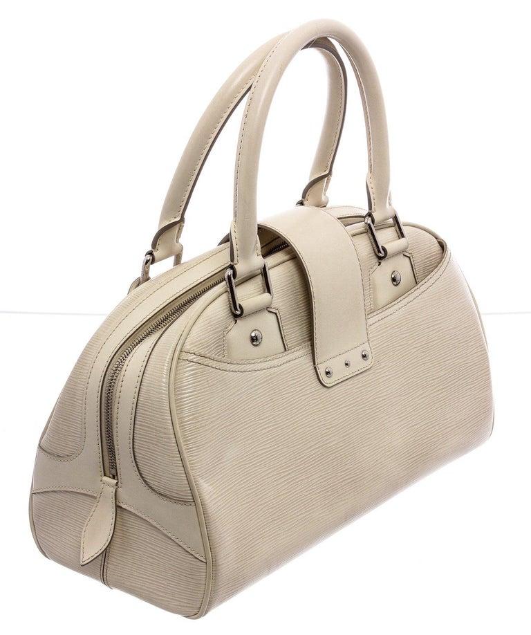 Louis Vuitton White Epi Leather Montaigne Bowling GM Bag For Sale 3