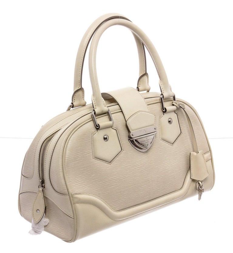Louis Vuitton White Epi Leather Montaigne Bowling GM Bag For Sale 4