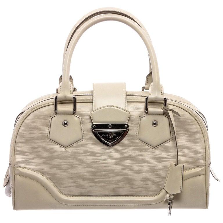 Louis Vuitton White Epi Leather Montaigne Bowling GM Bag For Sale