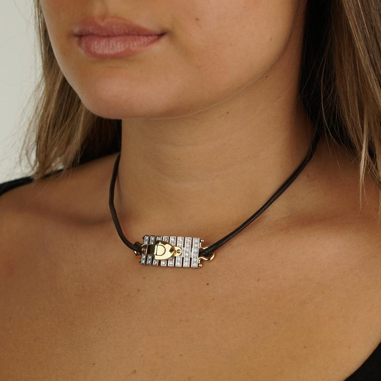 Round Cut Louis Vuitton White Gold Diamond Bracelet / Necklace For Sale