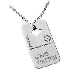 Louis Vuitton White Gold Dog Tag Necklace