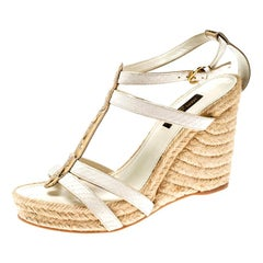Louis Vuitton White/Gold Monogram Leather Espadrille Wedge Sandals Size 37