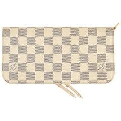 Louis Vuitton White Gray Damier zipper Zippy Wallet Gold Tone Metal