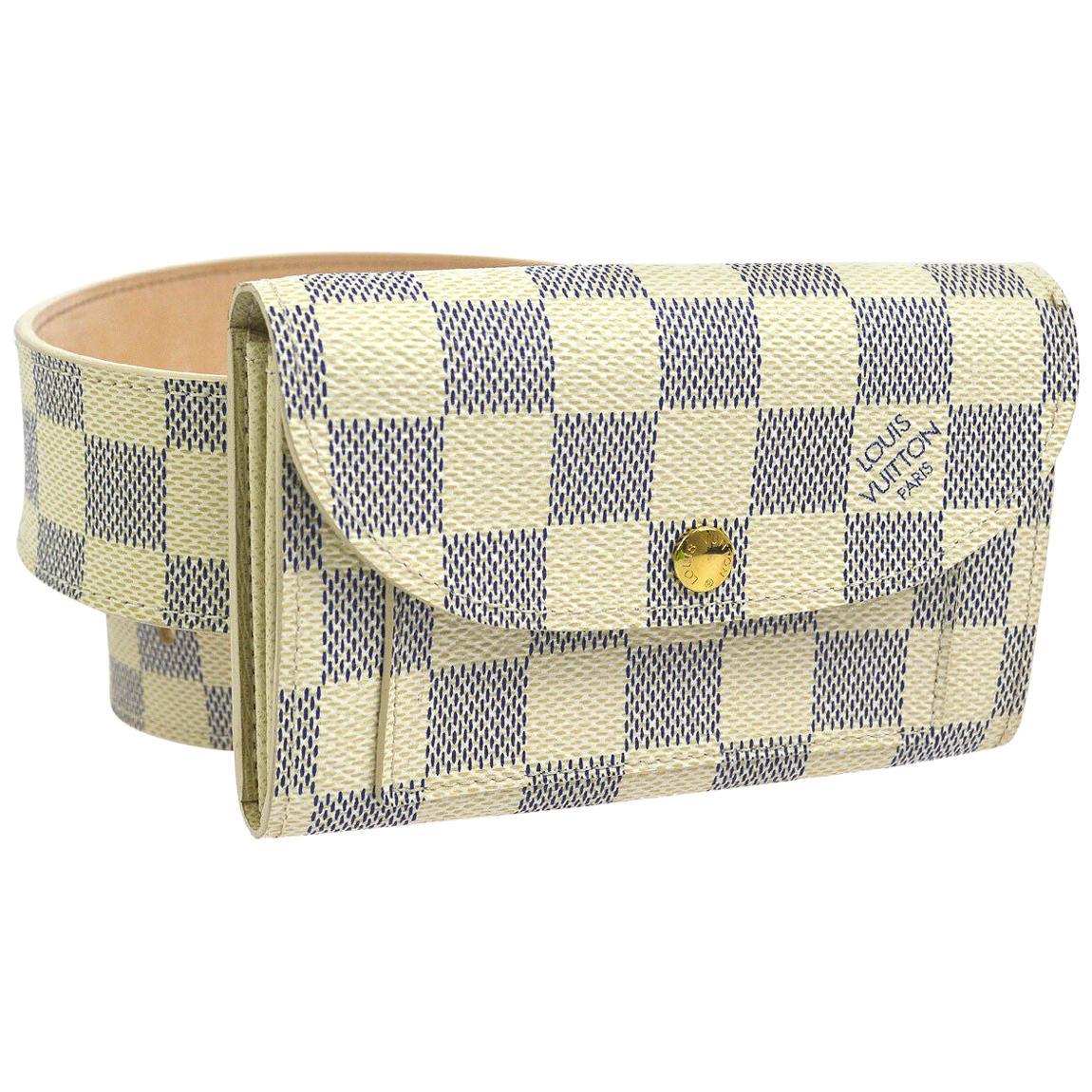 Louis Vuitton White Gray Men's Women's Pouch Bum Fanny Pack Waist Belt Bag