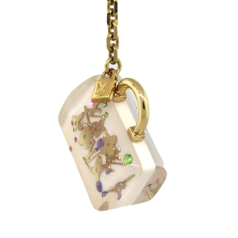 Company-Louis Vuitton Model-White Inclusion Speedy Multi Color Handbag Charm Key Chain Color-White Date Code-N/A Material-Clear resin featuring gold and multi-color Measurements- Length: 1.5