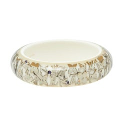 Louis Vuitton White Inclusion Wide Bangle Bracelet