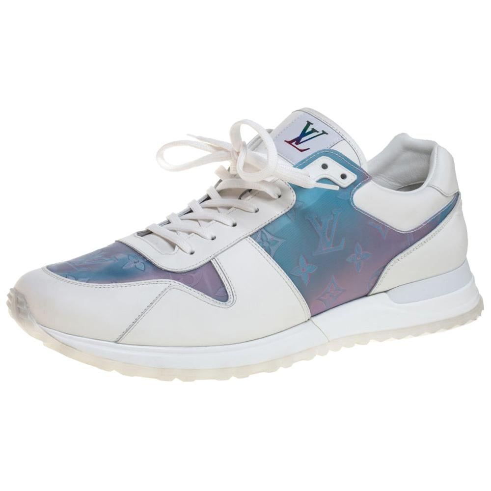 Louis Vuitton White Iridescent Leather And Rubber Run Away Sneakers Size 45