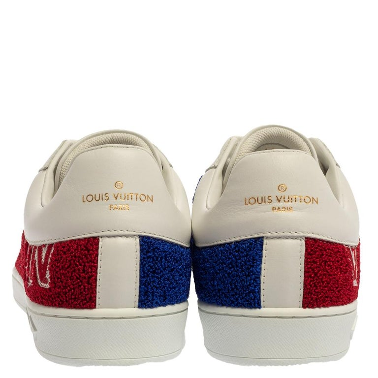 Louis Vuitton White Leather And Blue/Red Terry Fabric Sneakers Size 39 In New Condition For Sale In Dubai, Al Qouz 2
