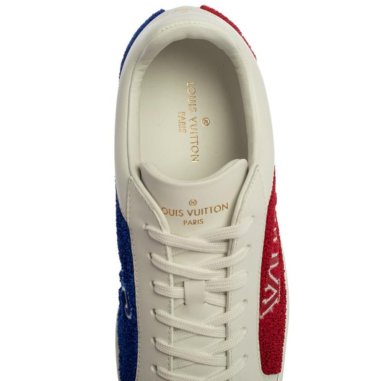 Louis Vuitton White Leather And Blue/Red Terry Fabric Sneakers Size 39 For Sale 3
