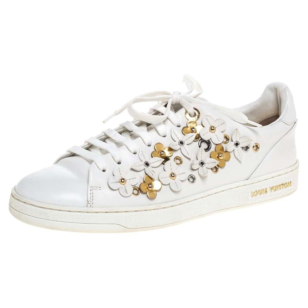 Louis Vuitton White Leather Blossom Floral Embellished Low Top Sneakers Size 38