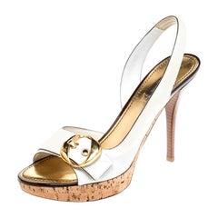 Louis Vuitton White Leather Buckle Cork Platform Slingback Sandals Size 40