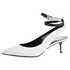 Louis Vuitton White Leather Call Back Ankle Strap Pointed Toe Sandals Size 38