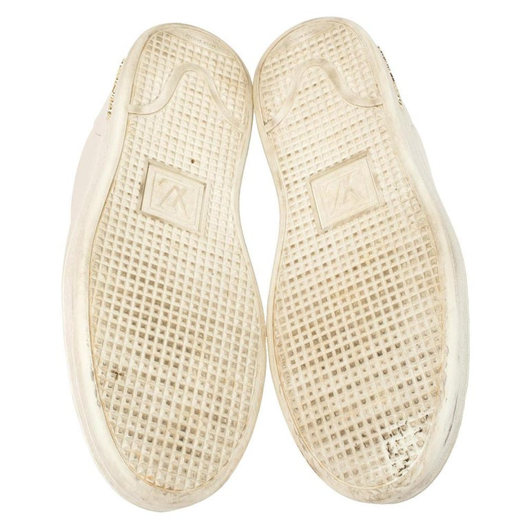 Women's Louis Vuitton White Leather Frontrow Logo Embellished Lace Up Sneakers Size 40 For Sale