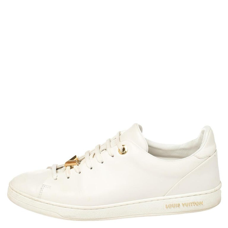 Louis Vuitton White Leather Frontrow Logo Embellished Lace Up Sneakers Size 40 For Sale 1