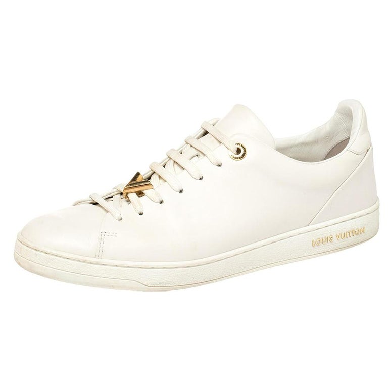 Louis Vuitton White Leather Frontrow Logo Embellished Lace Up Sneakers Size 40 For Sale