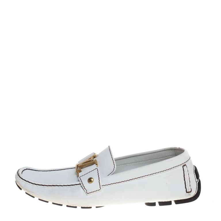 Men's Louis Vuitton White Leather Monte Carlo Loafers Size 42