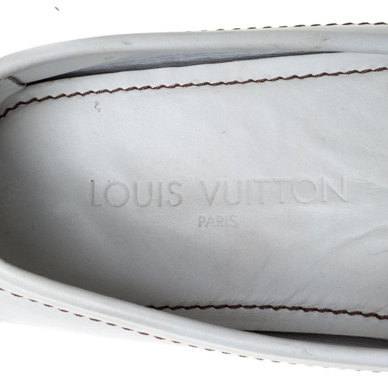 Louis Vuitton White Leather Monte Carlo Loafers Size 42 1