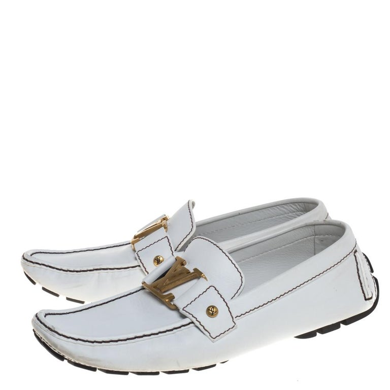 Louis Vuitton White Leather Monte Carlo Loafers Size 42 2