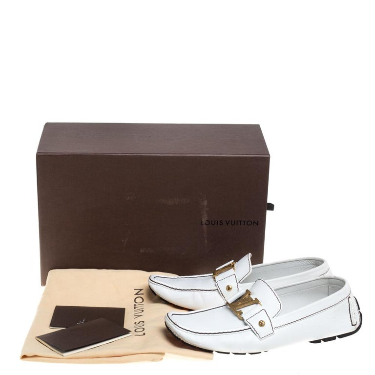 Louis Vuitton White Leather Monte Carlo Loafers Size 42 3
