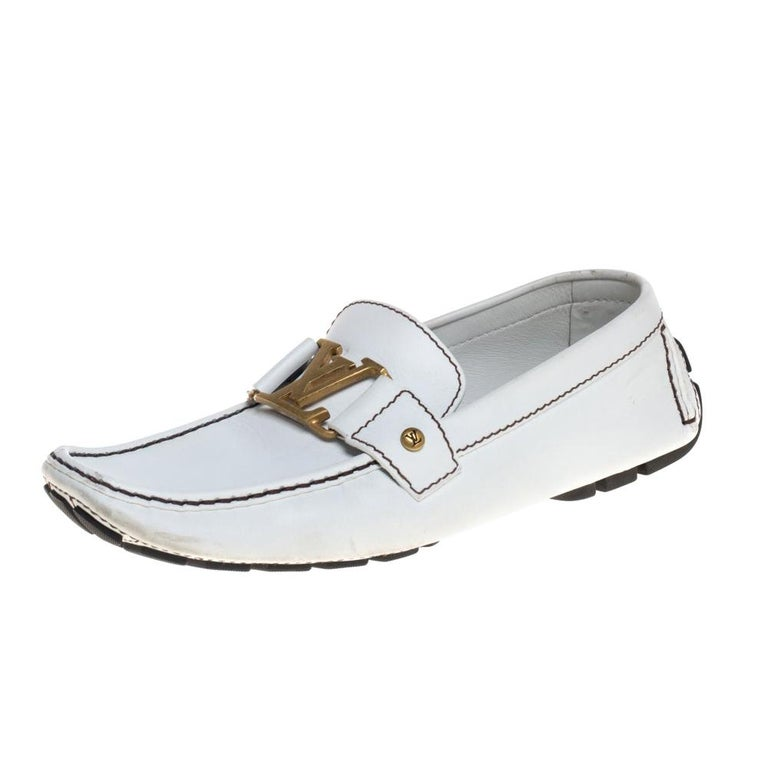 Louis Vuitton White Leather Monte Carlo Loafers Size 42