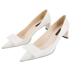 Louis Vuitton White Leather Pumps Shoes