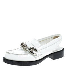 852ad2b154b2 Louis Vuitton White Leather Samourai Slingback Loafers Size 37.5