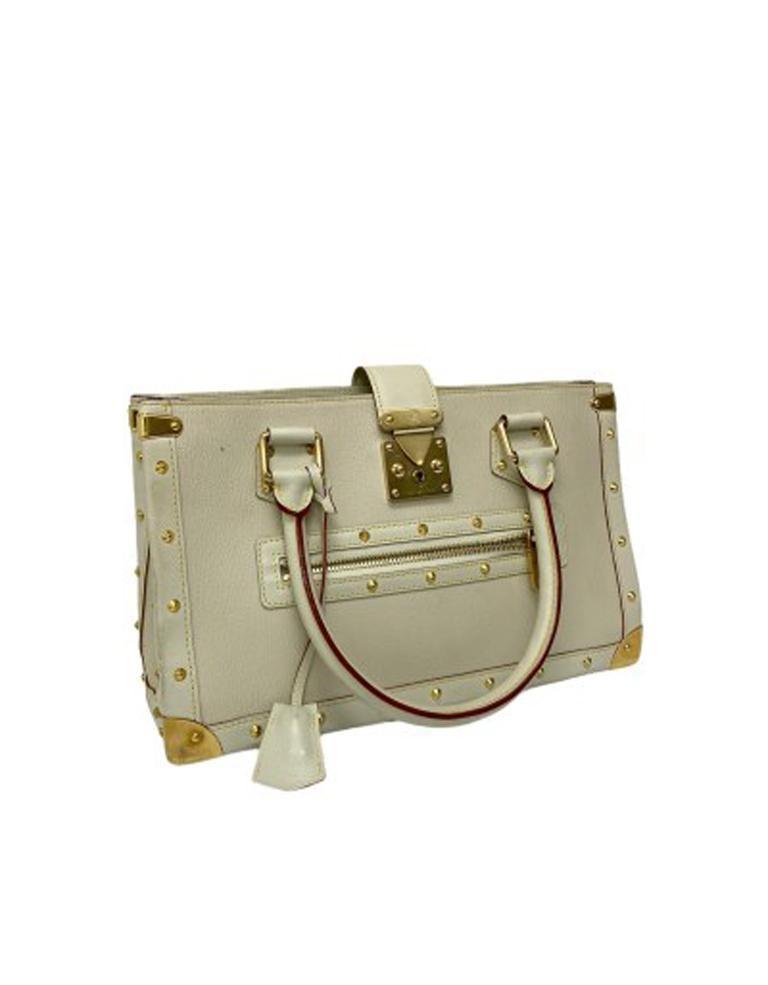 Brown Louis Vuitton White Leather Suhali le Fabuleaux Bag For Sale