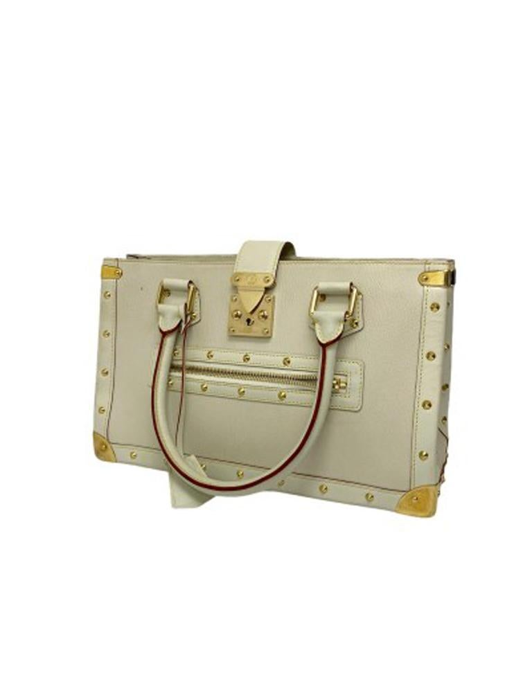 Louis Vuitton White Leather Suhali le Fabuleaux Bag In Good Condition For Sale In Torre Del Greco, IT