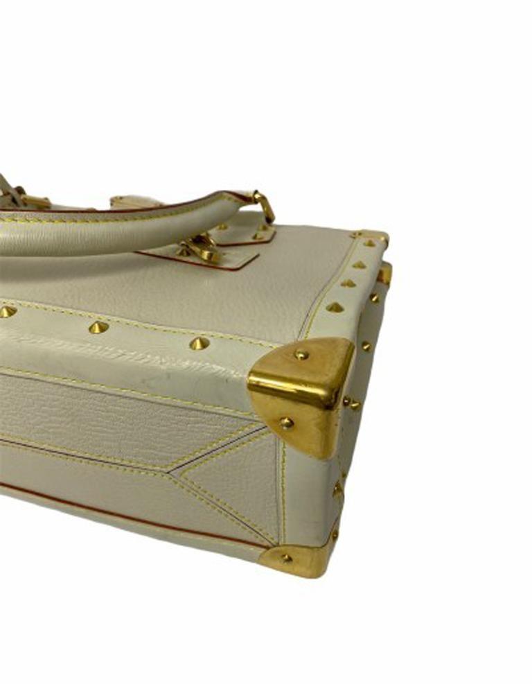 Louis Vuitton White Leather Suhali le Fabuleaux Bag For Sale 2