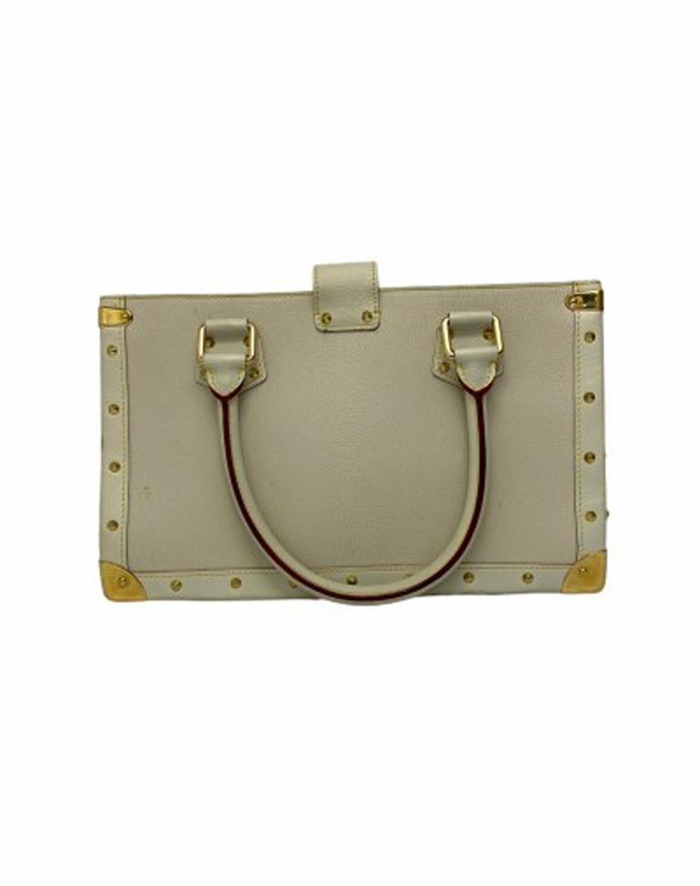 Louis Vuitton White Leather Suhali le Fabuleaux Bag For Sale 3