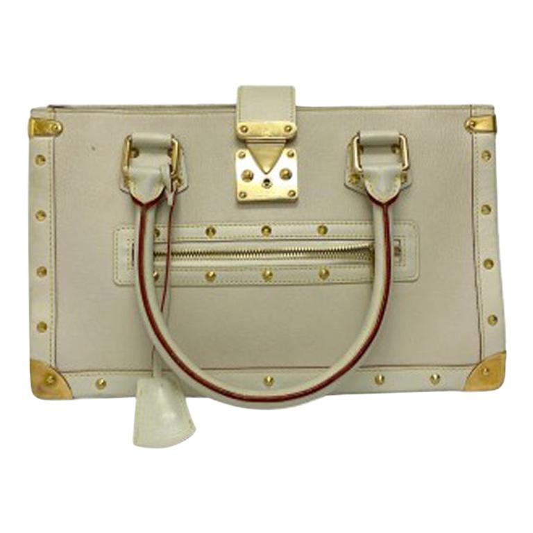 Louis Vuitton White Leather Suhali le Fabuleaux Bag For Sale