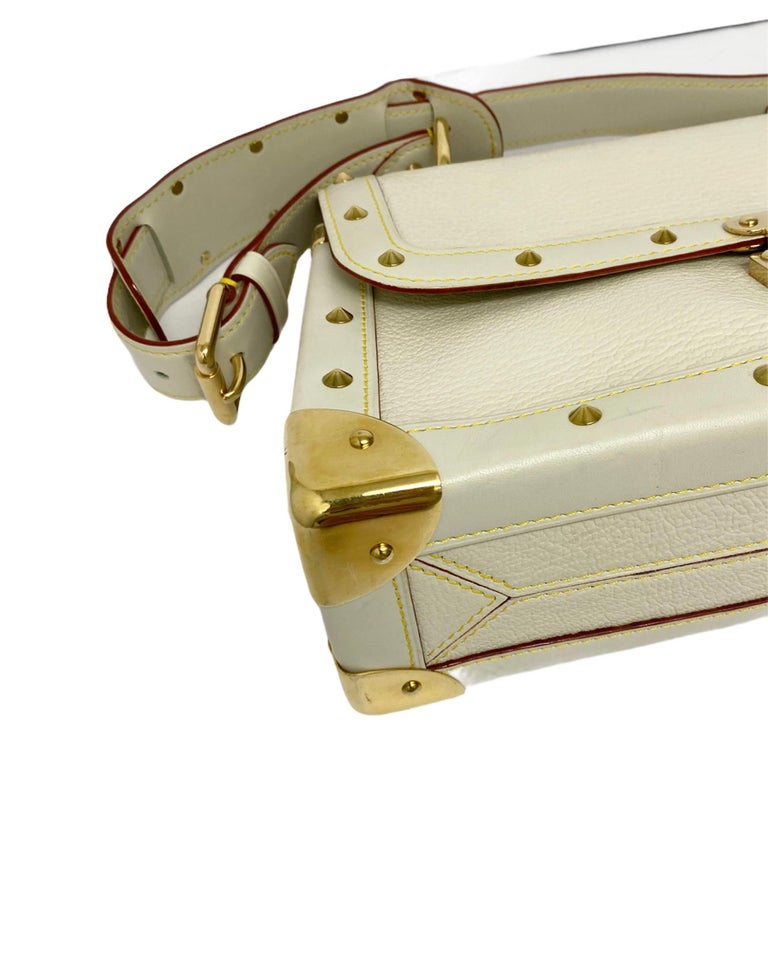 Louis Vuitton White Leather Suhali Le Talentueux Bag In Excellent Condition For Sale In Torre Del Greco, IT