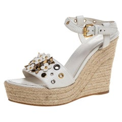 Louis Vuitton White Leather Wedge Platform Ankle Strap Sandals Size 37